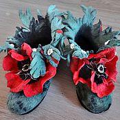 Обувь ручной работы handmade. Livemaster - original item Slippers with poppies. Boots home.. Handmade.