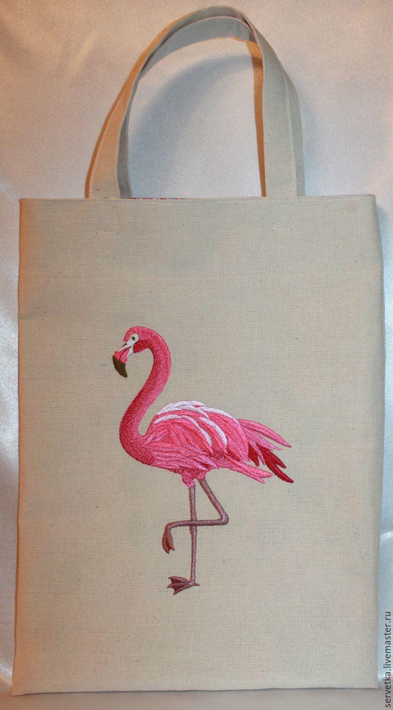 Вышивка гладью фламинго