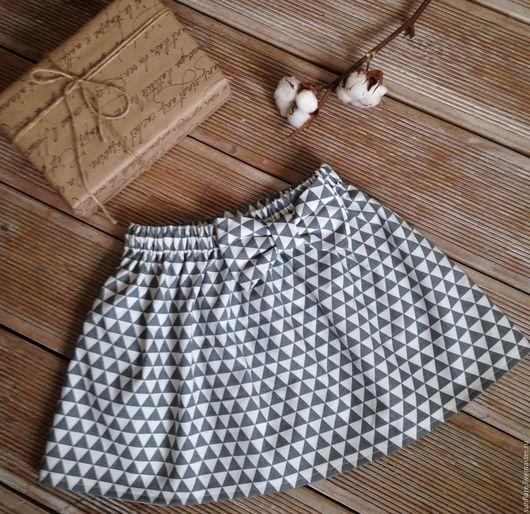 Одежда для девочек, ручной работы. Ярмарка Мастеров - ручная работа. Купить Юбка из хлопка. Handmade. Серый, геометрический орнамент