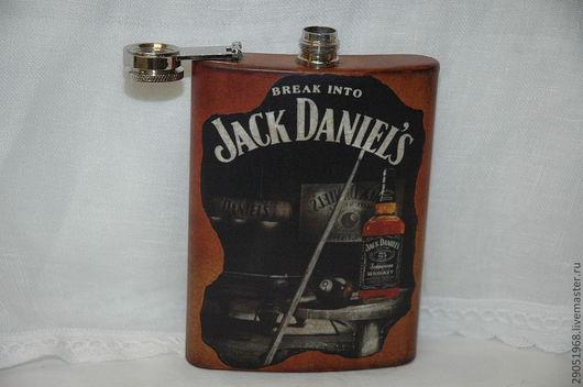 """Подарки для мужчин, ручной работы. Ярмарка Мастеров - ручная работа. Купить Фляжка """"jack daniels"""". Handmade. Коричневый, подарок"""