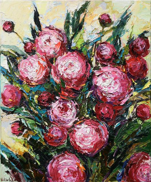 Картины цветов ручной работы. Ярмарка Мастеров - ручная работа. Купить Красные пионы. Handmade. Бордовый, подарок для женщины, мастихин