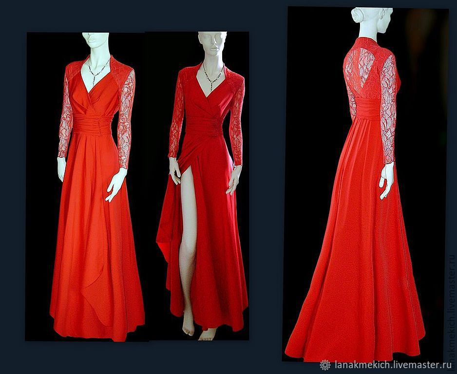 Dress red long slit' Diamond', Dresses, Moscow,  Фото №1