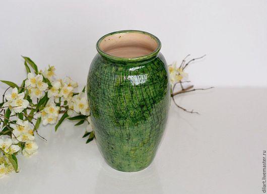 Вазы ручной работы. Ярмарка Мастеров - ручная работа. Купить Зеленая ваза ручной работы Рептилия. Handmade. Интерьерная керамика