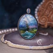 Украшения handmade. Livemaster - original item Pendant with painting on mother of pearl
