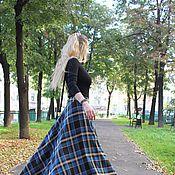 Одежда ручной работы. Ярмарка Мастеров - ручная работа Теплая длинная юбка в голубую клетку. Handmade.