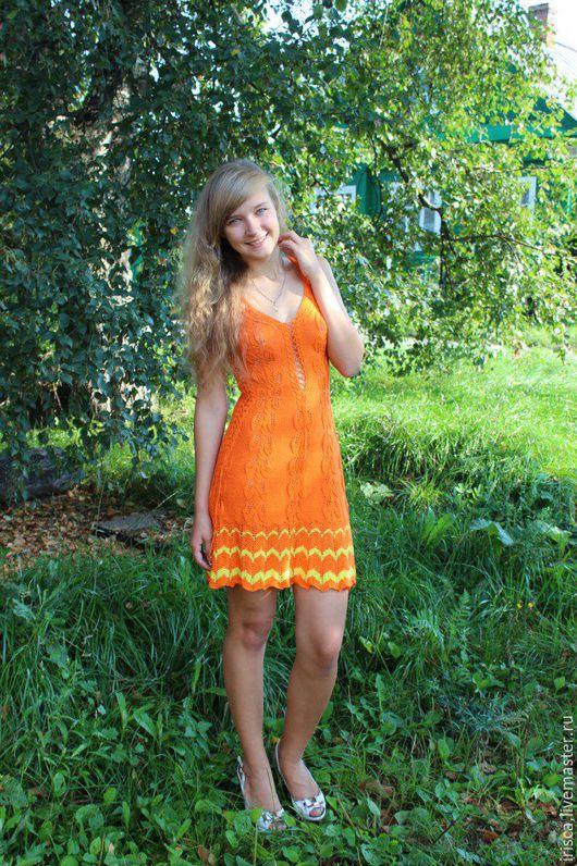"""Платья ручной работы. Ярмарка Мастеров - ручная работа. Купить Вязаное платье """"Апельсинчик"""" по идеям Зои Вулвич. Handmade. Оранжевый"""