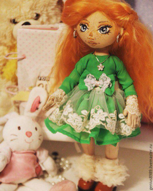 Коллекционные куклы ручной работы. Ярмарка Мастеров - ручная работа. Купить Рыжая девочка. Handmade. Ярко-зелёный, кукла в подарок