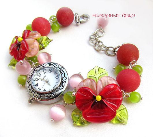 """Часы ручной работы. Ярмарка Мастеров - ручная работа. Купить Часы """"Рассвет"""". Handmade. Часы, часы с браслетом, красный, металлофурнитура"""