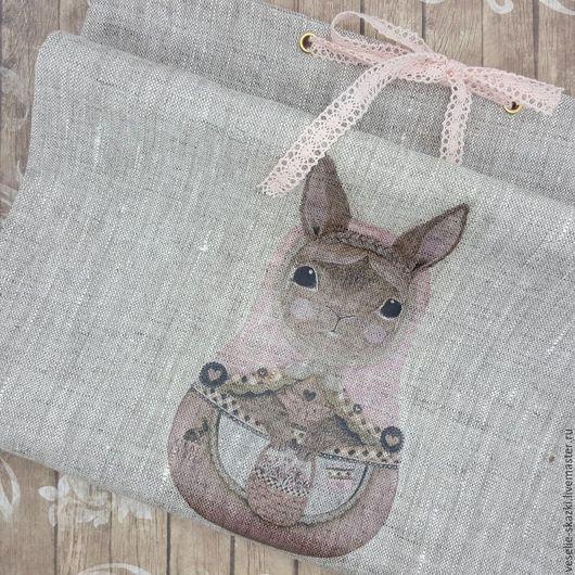Льняные мешочки, упаковка подарков, 25х35 см, Кролик, Веселые сказки (Светлана), фото, картинка