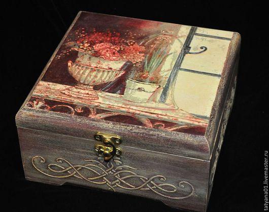 """Кухня ручной работы. Ярмарка Мастеров - ручная работа. Купить Чайная коробка """"Цветы у окна"""". Handmade. Бордовый"""