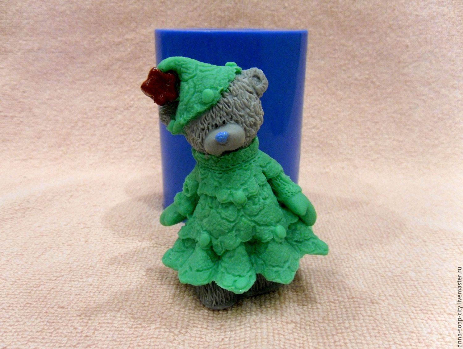 Silicone mold for soap 'Teddy Bear in Christmas tree costume', Makeup tools, Arkhangelsk,  Фото №1