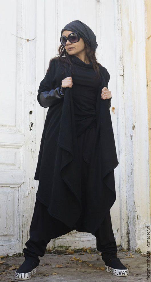 Верхняя одежда ручной работы. Ярмарка Мастеров - ручная работа. Купить КАРДИГАН ЧЕРНЫЙ ДЛИННЫЙ BLACK LONG VEST. Handmade.