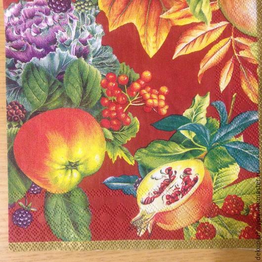 Сочные яблочки, гранат, смородина, фрукты Салфетка для декупажа Декупажная радость