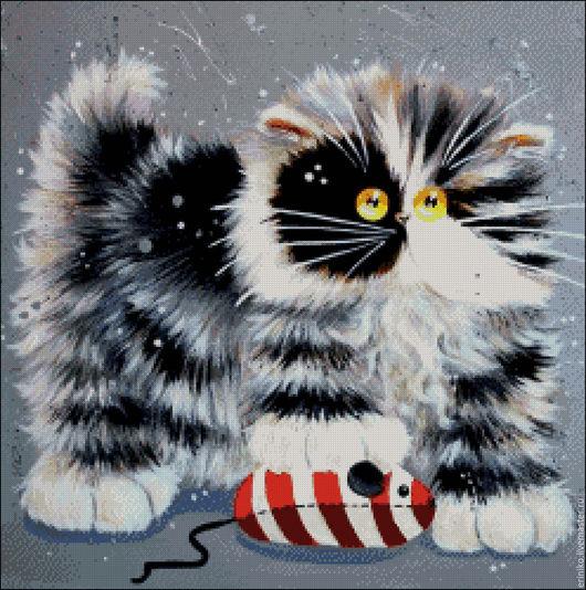 """Вышивка ручной работы. Ярмарка Мастеров - ручная работа. Купить Схема для вышивания крестиком """"Морячёк"""". Handmade. Комбинированный, кот, кошка"""