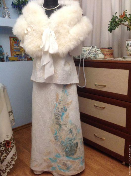 """Юбки ручной работы. Ярмарка Мастеров - ручная работа. Купить Юбка валяная """"Бирюзовый цветок"""". Handmade. Белый, длинная юбка"""