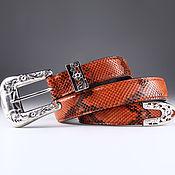 Аксессуары handmade. Livemaster - original item Python leather belt, width 3,3 cm IMP3115O. Handmade.
