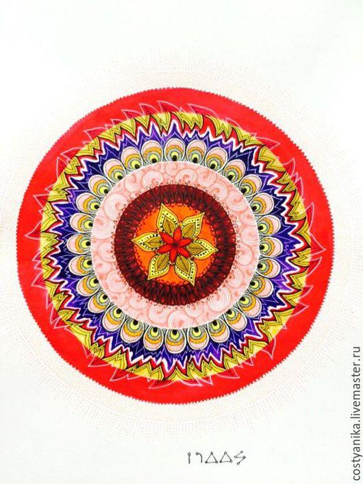 Медитация ручной работы. Ярмарка Мастеров - ручная работа. Купить Мандала Архангела Уриила. Handmade. Ярко-красный, Архангел