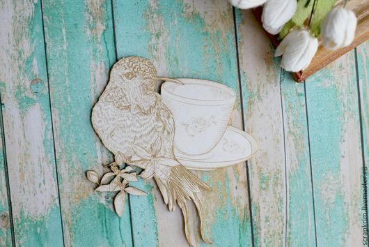Открытки и скрапбукинг ручной работы. Ярмарка Мастеров - ручная работа. Купить Кружка с птицей. Handmade. Белый, чипборд, чипборд из картона