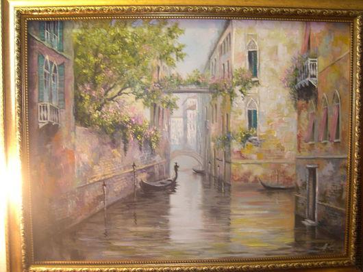 Город ручной работы. Ярмарка Мастеров - ручная работа. Купить Теплая Венеция. Handmade. Комбинированный, картина, картина в подарок