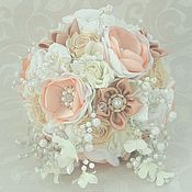 Свадебный салон handmade. Livemaster - original item Peach Bridal brooch bouquet. Asymmetrical brooch bouquet.. Handmade.