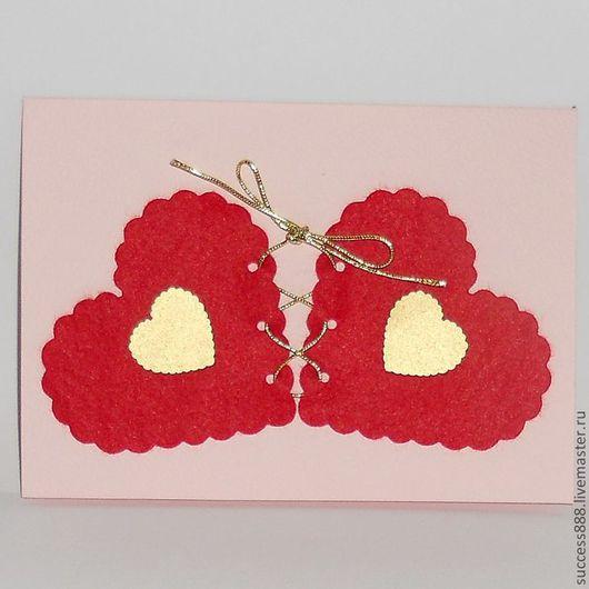 Валентинки ручной работы. Ярмарка Мастеров - ручная работа. Купить Открытка-валентинка. Handmade. Открытка ручной работы, валентинка, сердечки
