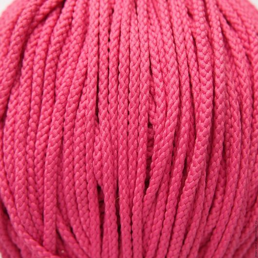 Для украшений ручной работы. Ярмарка Мастеров - ручная работа. Купить Шнур плетеный полиэфирный 3,5 мм ярко-розовый. Handmade.