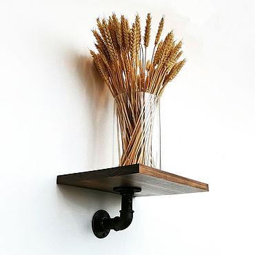 Мебель ручной работы. Ярмарка Мастеров - ручная работа Деревянная полка из труб в стиле Лофт. Handmade.