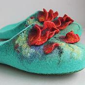 """Обувь ручной работы. Ярмарка Мастеров - ручная работа Тапочки """"Ах эти маки!"""". Handmade."""