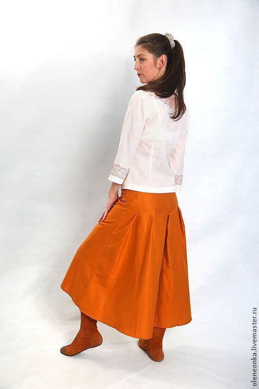 Юбки ручной работы. Ярмарка Мастеров - ручная работа. Купить Юбка со шлейфом. Handmade. Оранжевый, длинная юбка