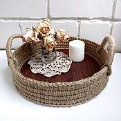 Корзины ручной работы. Ярмарка Мастеров - ручная работа Корзинка-поднос из джута с деревянным донышком, корзина для хранения. Handmade.