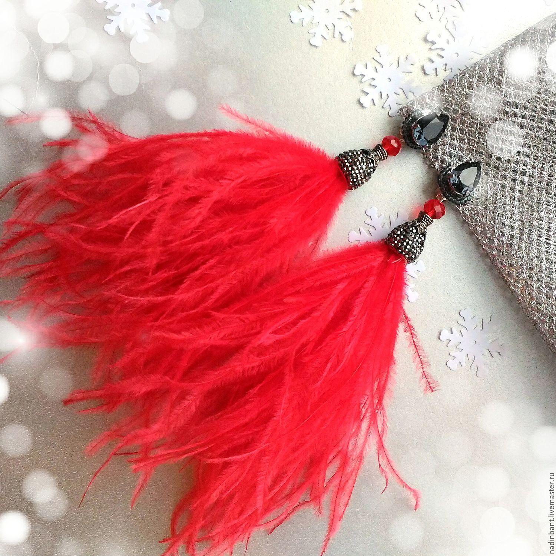 """Серьги ручной работы. Ярмарка Мастеров - ручная работа. Купить Клипсы """"Red"""" перья страуса. Handmade. Серьги, красные клипсы"""