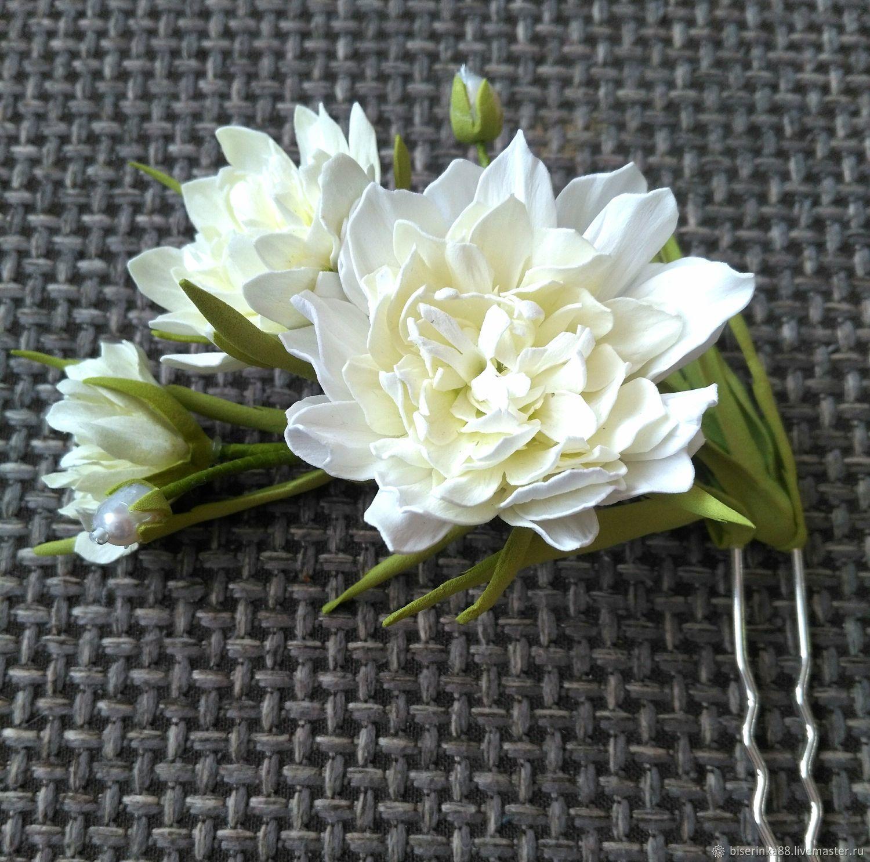 Шпилька с молочно-белыми хризантемами, Украшения, Барнаул,  Фото №1