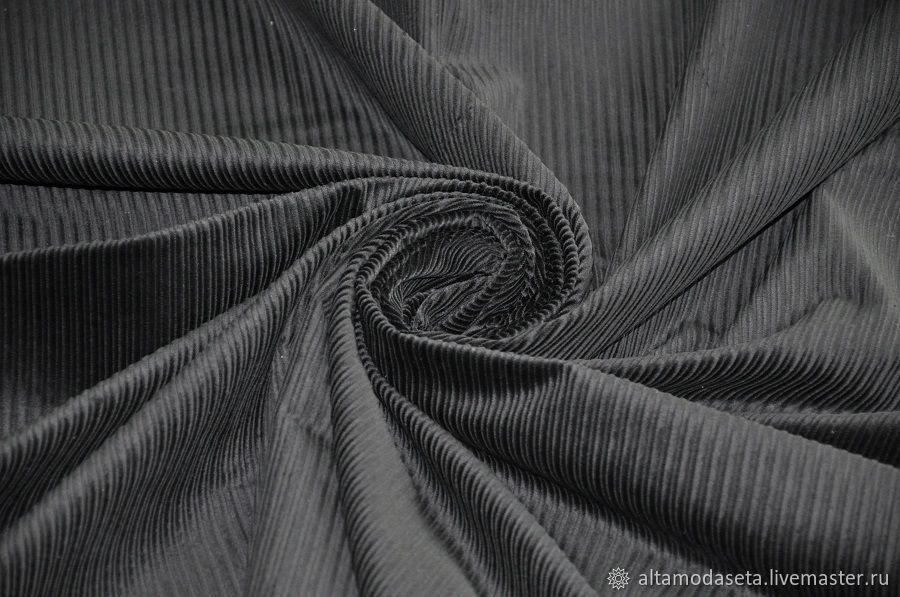 Вельвет черного цвета из Италии, Ткани, Москва,  Фото №1