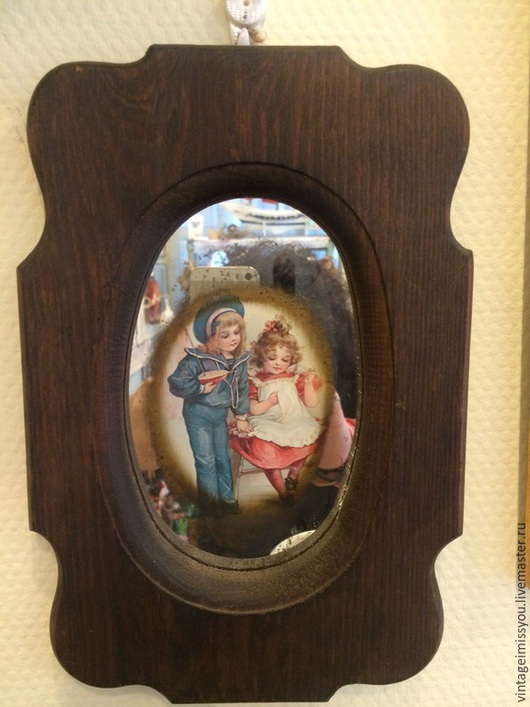 Винтажные предметы интерьера. Ярмарка Мастеров - ручная работа. Купить Винтажная картина на зеркале. Handmade. Разноцветный, винтаж, дерево