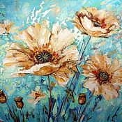 Картины и панно handmade. Livemaster - original item White poppies-oil on canvas, potal 50*60 cm. Handmade.