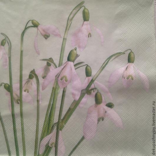 Нежные белые цветочки  Салфетка для декупажа Декупажная радость