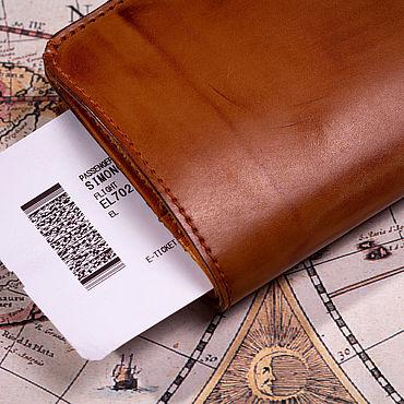 Канцелярские товары ручной работы. Ярмарка Мастеров - ручная работа Обложка-Кошелек  для путешествий на 2 паспорта. Handmade.