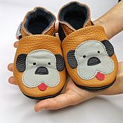 Одежда детская handmade. Livemaster - original item Baby Moccasins, Brown baby shoes,Puppy Baby shoes,Ebooba. Handmade.