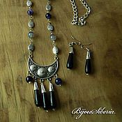 Украшения handmade. Livemaster - original item Necklace and earrings with agate