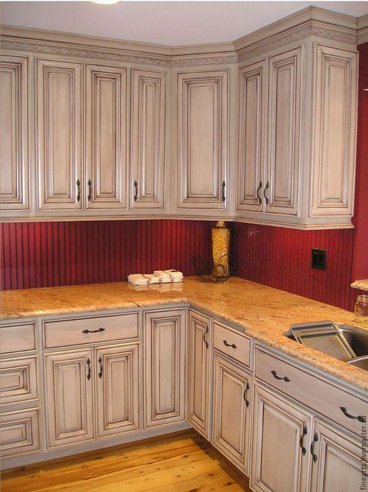 Декор поверхностей ручной работы. Ярмарка Мастеров - ручная работа. Купить Состаривание кухонной мебели, креативное декорирование перекраска. Handmade.