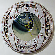 Для дома и интерьера handmade. Livemaster - original item Wall clock round mirror with white glass. Handmade.