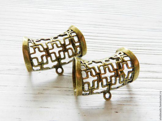 Бейл для платка-колье (шарфа-колье) , цвет - АНТИЧНАЯ БРОНЗА, размер 28x40x8 мм, внутренний диаметр 16*20 мм (арт. 1997)