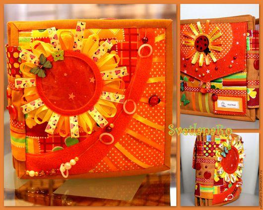 """Развивающие игрушки ручной работы. Ярмарка Мастеров - ручная работа. Купить Развивающая книга """"Оранжевое Солнце"""". Handmade. Развивающая книжка"""