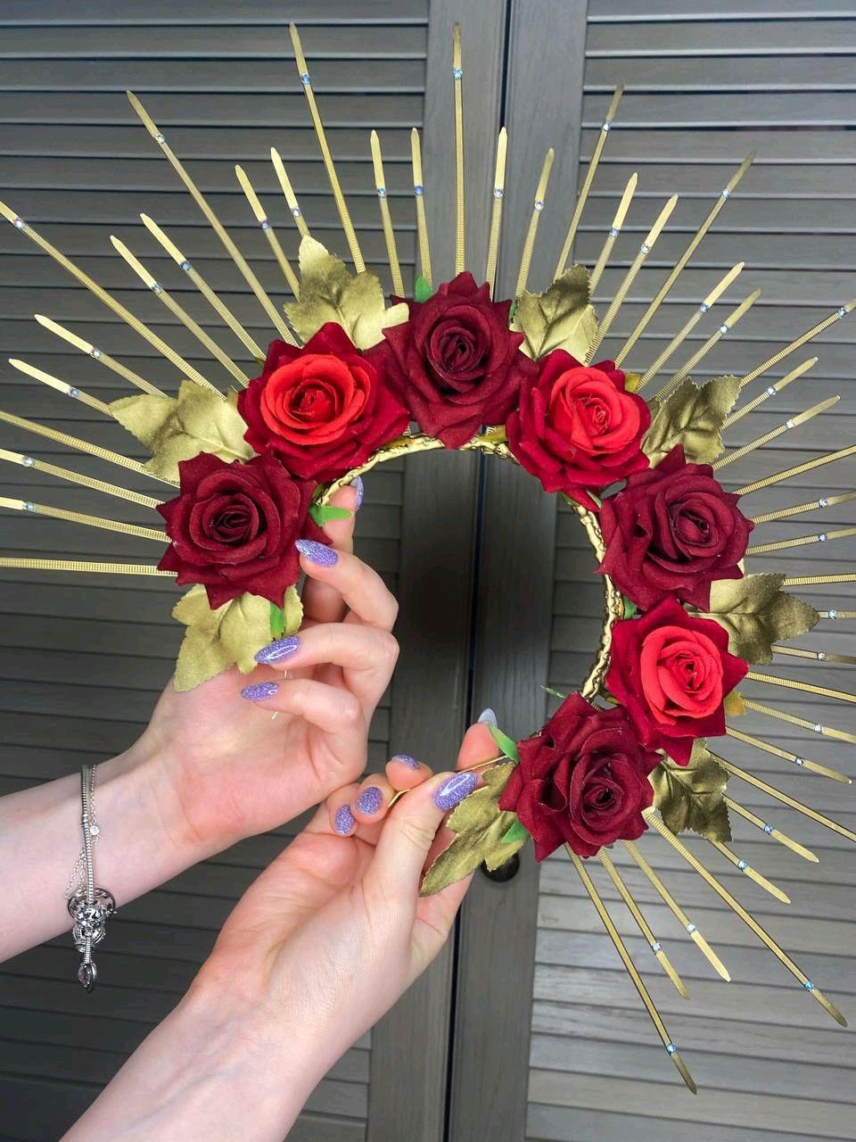 Золотой ободок ручной работы с розами, Ободки, Москва,  Фото №1