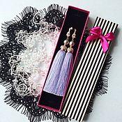Украшения handmade. Livemaster - original item Earrings-brush pearl Royal purple lavender lilac pink. Handmade.