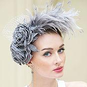 Свадебный салон ручной работы. Ярмарка Мастеров - ручная работа Шляпка с перьями  и розами жемчужно серого цвета. Handmade.