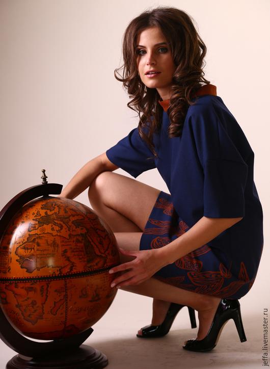 Платья ручной работы. Ярмарка Мастеров - ручная работа. Купить Новинка! Платье Феличита. Handmade. Тёмно-синий, цветочный