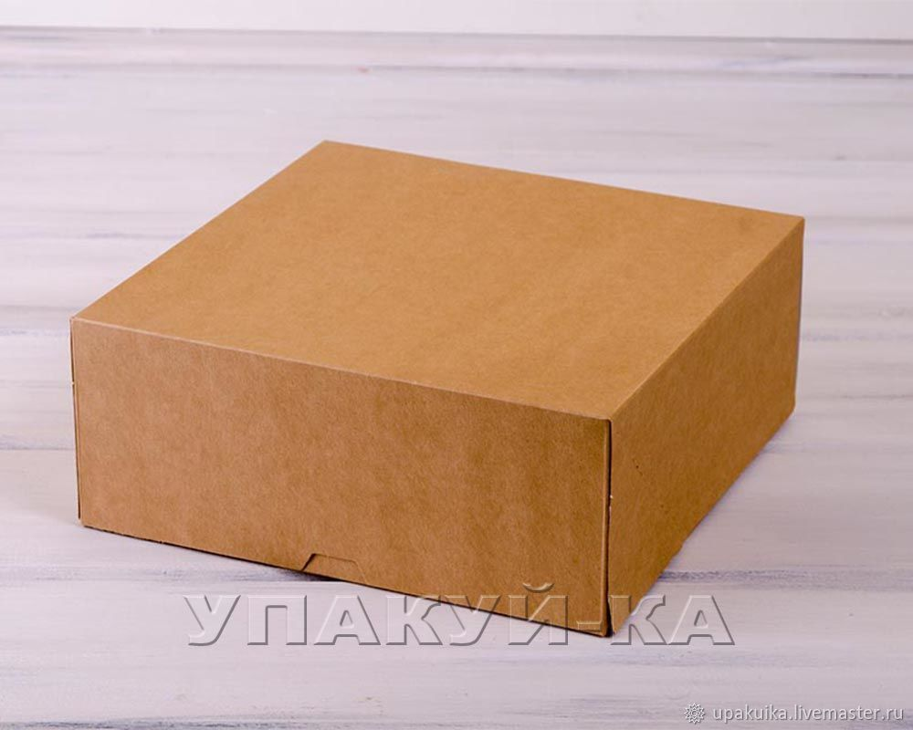 Коробка для торта из крафт-картона. (Арт. 0106001) Размер: 25,5х25,5х10,5 Материал: крафт-картон.