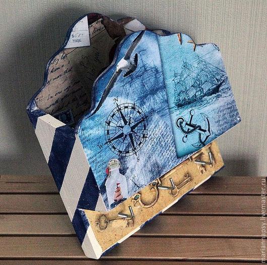 """Прихожая ручной работы. Ярмарка Мастеров - ручная работа. Купить """"Морская почта"""". Handmade. Ключница, для прихожей, дерево, рисовая бумага"""
