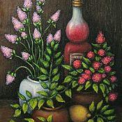 """Картина маслом """"Натюрморт с бутылкой и цветами"""""""